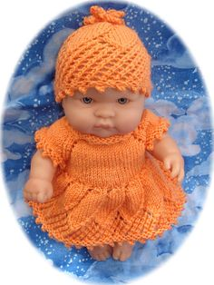 """Ravelry: Daisy - outfit for 8"""" (20cm) chubby baby doll pattern by Angela Fox"""