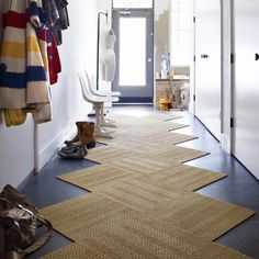 Need a custom-size rug for a hallway or entryway? Use carpet tiles to create a rug or runner that's just the right fit.