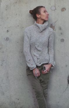 Silver gray Cable sweater women's alpaca sweater with by ileaiye