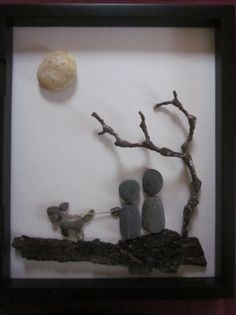 Pebble Art Couple with Their Dog by midgit21356 on Etsy