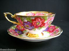 VTG+CARMEN+ROYAL+STANDARD+FINE+ENGLISH+BONE+CHINA+TEA+CUP++SAUCER+PINK+FLOWERS