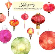 Check out Watercolor Chinese Lantern Coll by Kaazuclip on Creative Market
