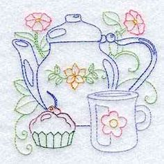 Buy Individual Embroidery Designs from the set Line Art Tea Pots muffin tea pot