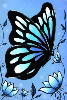 Butterfly & Flowers This is a OSWOA painting and it's the piece in my butterfly and flowers series. The painting was made with acr. Simple Acrylic Paintings, Easy Paintings, Acrylic Painting Canvas, Canvas Art, Diy Canvas, Canvas Paintings For Kids, Afrique Art, Art Portfolio, Easy Drawings