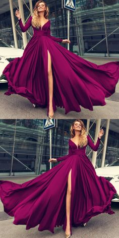 *Mom likes this very much but not with a high split Sexy Plunge V-neck Long Sleeves Prom Dresses 2018 Leg Slit Evening Gowns