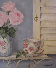 IMAGES OF SHABBY CHIC TEA CUPS AND SAUCES PAINTING ON CANVAS - Google Search