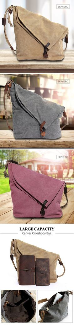 【49% OFF】Ekphero Women Vintage Messenger Bag_Genuine Leather Canvas Crossbody Bag_Tribal Rucksack