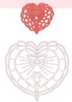 Crochet Heart Pattern Free Charts 15 Ideas For 2019 Marque-pages Au Crochet, Appliques Au Crochet, Crochet Gratis, Crochet Motifs, Crochet Blocks, Crochet Diagram, Crochet Chart, Thread Crochet, Crochet Patterns