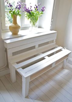 Handimania is calling this a Pallet Sofa, but in it looks more useful as a plant rack/radiator cover to me!