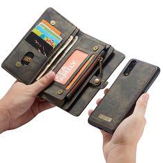Gekauft CASEME Vintage Split Leder Geldbörse Handy Hülle Mit Multi Slot Für Huawei P20 Braun