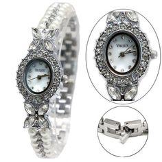 FW913B Shiny Silver Band White Dial Ladies Women Imitated Pearl  Bracelet Watch