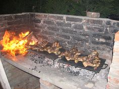 Thank you Halin de Repentigny, for teaching me the art (pardon the pun.) of BBQ-ing chickens whole in the Argentine style. Those Argentines, they love them some grilled meats. Bbq Grill, Asado Grill, Outdoor Bbq Kitchen, Outdoor Cooking, Outdoor Kitchens, Stone Bbq, Brick Bbq, Smoke Grill, Fire Cooking