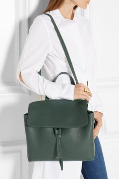 Dark-green tumbled-leather (Cow) Tab-fastening front flap Designer color: Moss Due to the delicate nature of the material, natural veining and marks may occur Made in Italy