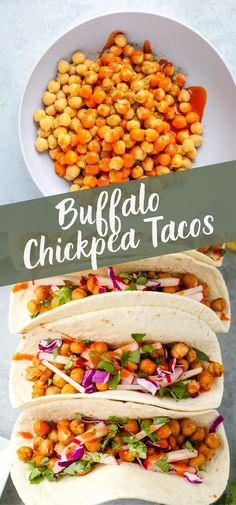 If you love buffalo sauce, these chickpea tacos are a MUST make! These are the best vegetarian tacos you'll find. Plus, they're vegan and gluten free! appetizers no dairy Buffalo Chickpea Tacos Meatloaf Recipes, Beef Recipes, Mexican Food Recipes, Cooking Recipes, Cooking Tips, Raw Recipes, Lunch Recipes, Dinner Recipes, Vegetarian Tacos