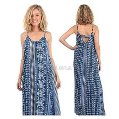 """Love this print! Get the """"Mosaic Bar Back Maxi Dress in Navy"""" ON SALE for $35 at shop.stfrock.com.au #stfrock #maxi #dress #print #sale"""