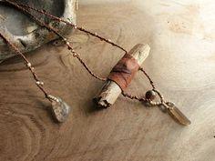 Drift wood pendant with leather, Smokey Quartz & Shaman Dream Stone (Lodolite) - rough, rugged and organic feel, eco jewelry. £33.00, via Etsy.