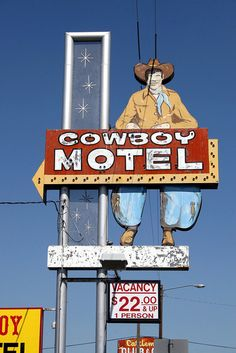"Route 66 - Cowboy Motel sign on Rt. 66 In Amarillo, Texas. ""The Fine Art Photography of Frank Romeo. Old Route 66, Route 66 Road Trip, Historic Route 66, Travel Route, Travel Oklahoma, Road Trips, Western Signs, Vintage Neon Signs, Texas History"