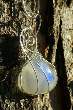 Rainbow moonstone necklace wire wrapped in argentium by ivysgembox, $53.00