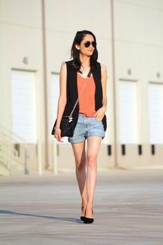 Summer Outfit | Date Night Look | Boyfriend Shorts | Denim Shorts and Heels