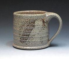 Chuck Solberg Salt Fired Stoneware Mug, Signed Hand Thrown Pottery Mug, Studio Pottery Mug