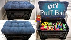 Milk Crate Furniture, Diy Furniture Table, Cardboard Furniture, Diy Cardboard, Diys, Diy Crafts Hacks, Diy Home Crafts, Diy Handmade Books, Diy Puffs