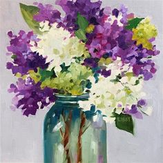 """Daily Paintworks - """"Gold Medal Lilacs"""" - Original Fine Art for Sale - © Libby Anderson"""