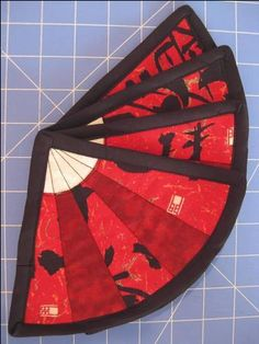 Chinese Fan Mug Rugs (pic heavy) - QUILTING