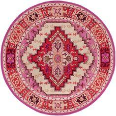 Safavieh Bellagio Handmade Bohemian Red Pink/ Ivory Wool Rug (5' Round)
