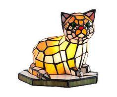 Lampada da tavolo stile Tiffany in vetro e metallo Cat - H 20 cm