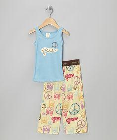 Take a look at this munki munki Blue Retro Bus Tank Pajama Set - Infant, Toddler & Girls on zulily today!