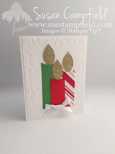 Christmas Candles with Festive Flower Punch , Simple and beautiful by Sue Campfield