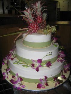 Hawaiian Wedding Cake With Cute Topper1