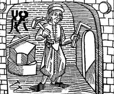 Builder 15th century . Woodcut from William Caxton s The Game of Chesse , c . 1474 . English merchant , diplomat , writer and printer , c . 1415 / 1422 – ca . 1492 stock photo