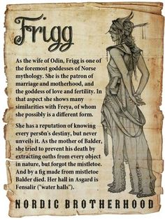 Frigg was at the highest rank in the Aesir goddesses. In other words, she was th… – Norse Mythology-Vikings-Tattoo Norse Goddess, Norse Pagan, Celtic Mythology, Goddess Of Love, Beautiful Goddess, Wiccan, Witchcraft Symbols, Norse Runes, Mythological Creatures