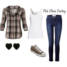 brown and black plaid.I'd do like pink and black instead and switch up the kicks ; Flannel Outfits, New Outfits, Summer Outfits, Fashion Outfits, Womens Fashion, Fasion, Junior Outfits, My Style, How To Wear