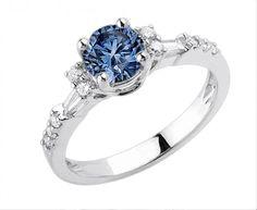 Blue Round Diamond #Anniversary #Fancy #Ring