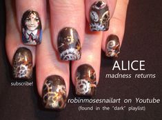 Nail-art by Robin Moses: ALICE MADNESS RETURNS, alice madness returns nail, alice in wonderland nail, vorpal blade, the white rabbit, steampunk nail, nail art, video game nail art, geek nail art, alice return to madness, clock nails, clock gear nail art, nail games,