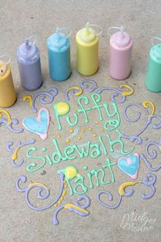 puffy sidewalk paint is so much fun for the kids! DIY Sidewalk chalk that is easy to make and will have the kids outside having fun! #summer #diy #summerfun #chalkpaint