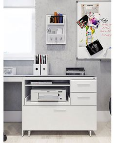 A perfect office setup with BDI's Centro multi-function cabinet.