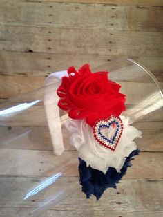 Patriotic Shabby Flower Headband Woven Headband by JustAboutBows