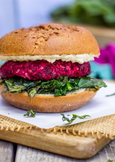 Roasted Beet, Brown Rice & Chickpea Burgers with Crispy Kale & a Thyme Tahini Sauce-3946