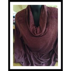 """MAROON COWL TOP Relativity 71% polyester, 29% cotton cowl neck top with lace accents at shoulders & hem & across top back. Length 31"""" BEAUTIFUL 🌷🌷PRICE REDUCED!!! 💥🍒🎉 Tops"""