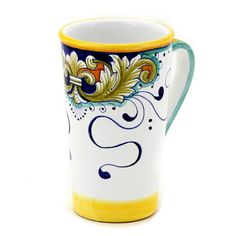 DERUTA FOGLIE: Tall Mug 16 oz.[#9507-FOL]  Mug: 2.5D.(BASE) 3.5D.(TOP) X 6''H. (16 Oz.)