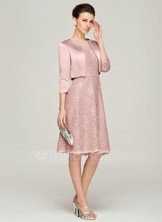 A-Line/Princess Scoop Neck Knee-Length Lace Mother of the Bride Dress With Beading (008062575) - JJsHouse