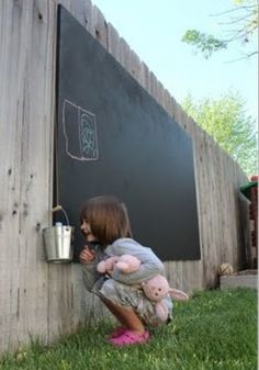Great idea for the kids!! Outside chalkboard We just did this!