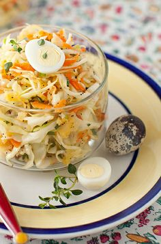 cabbage salad with carrot, apple, cilantro and sunflower oil...