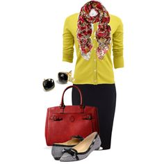 A fashion look from February 2014 featuring long sleeve v neck cardigan, evening skirts and red leather handbag. Browse and shop related looks.
