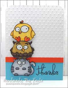"""Paper Smooches """"Chubby Chums"""" Thanks Card {like the stacked chums! Cat Cards, Kids Cards, Thanks Card, Paper Smooches, Get Well Cards, Animal Cards, Cards For Friends, Scrapbook Cards, Scrapbooking"""