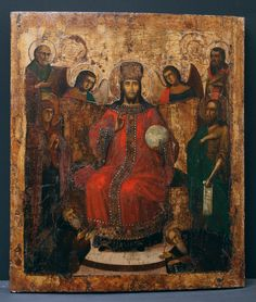 Deesis: Enthroned Christ flanked by Saint Nicholas, the Wonderworker and Archbishop of Myra in Lycia († c.345), Saint Basil the Great, Archbishop of Caesarea in Cappadocia († 379), Holy Archangels Gabriel and Michael, the most Holy Virgin Mary Mother of God, Holy Glorious Prophet John the Forerunner [1st C], Venerable Zosimas [Zosima, 1478] the Abbot and Venerable Sabbatius [Savatiy, † 1435] the Wonderworkers of Solovki