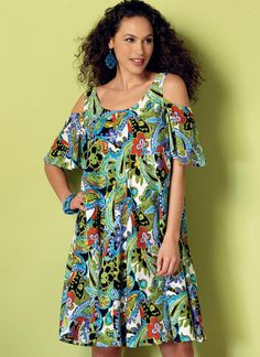 Easy, breezy dress sewing pattern from Butterick. B6350 Misses' Sleeveless and Cold-Shoulder Tent Dresses